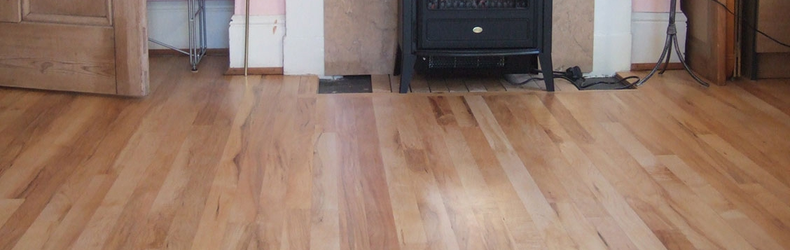 Beech wood floor sanded and varnished