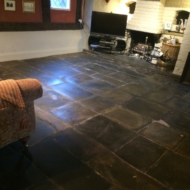 cleaned and polished flagstone floor