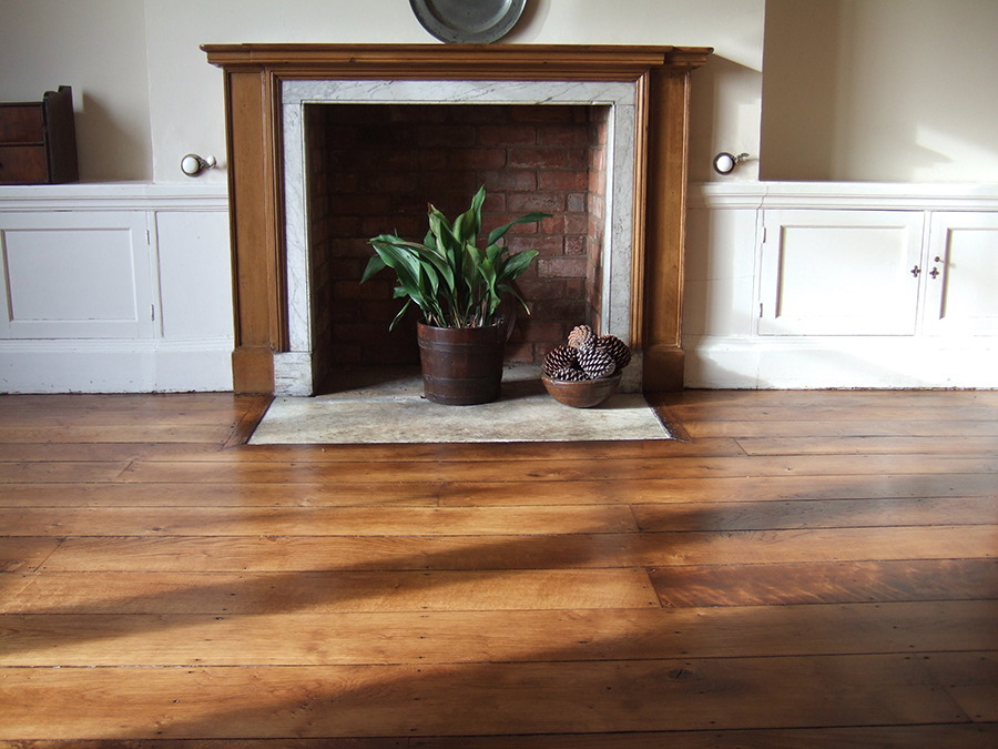 Sanded and oiled old elm floor boards