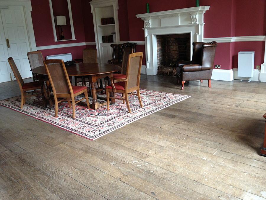 Ledbury elm floor before restoration