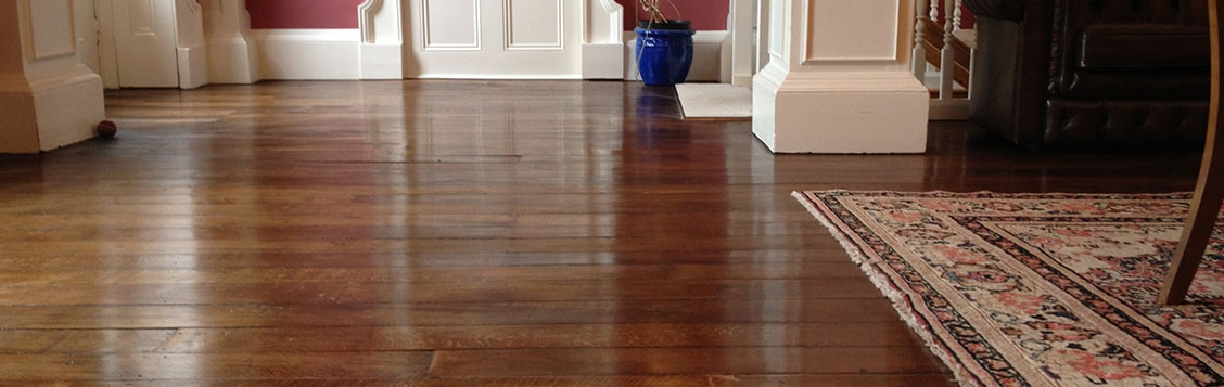 Polished old elm floor