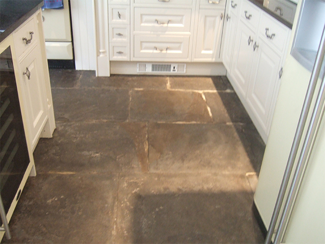 Flagstone floor delaminating
