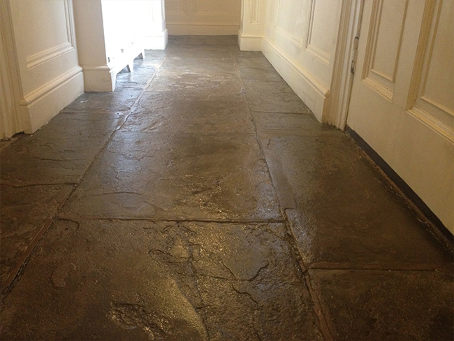 Flagstone floor after sandblasting