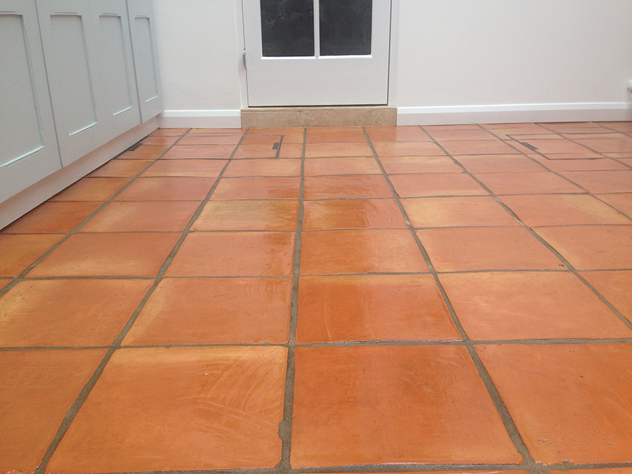 Terracotta floor restored after flooding