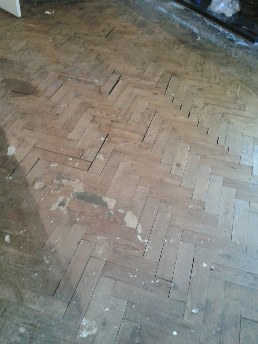 Flood damaged pitch pine wood floor