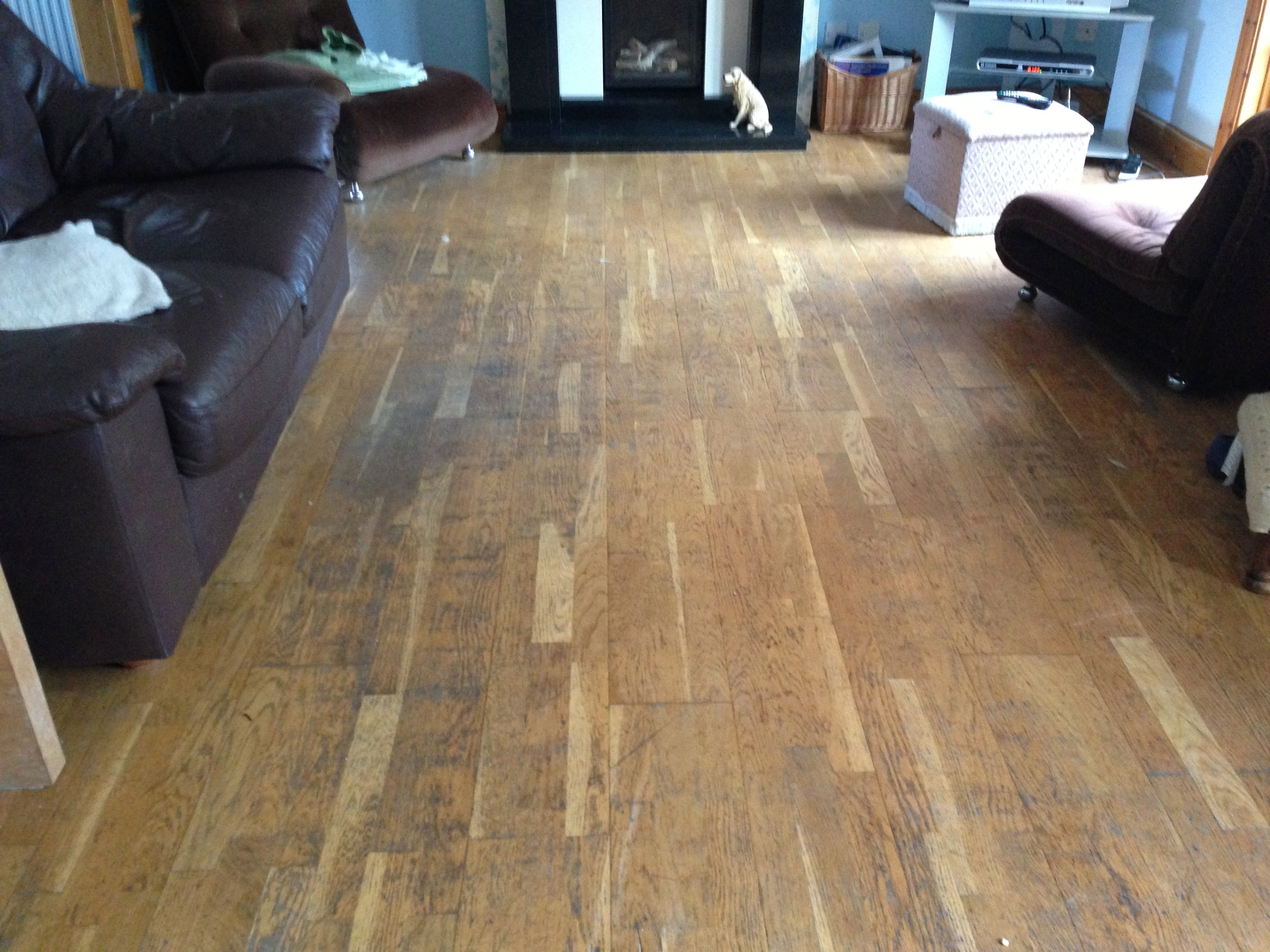 Damaged laminate wood floor