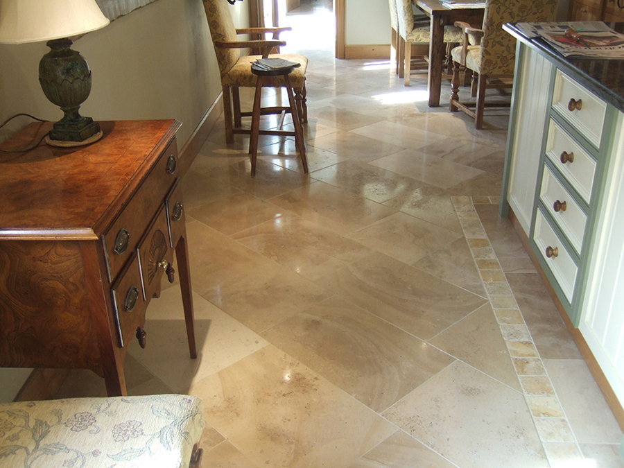 Jerusalem limestone floor after stone polishing