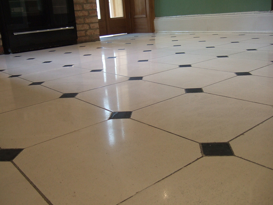 Limestone floor polished and scratches removed