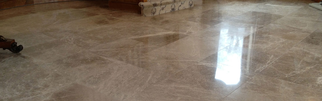 Marble floor in a hallway polished