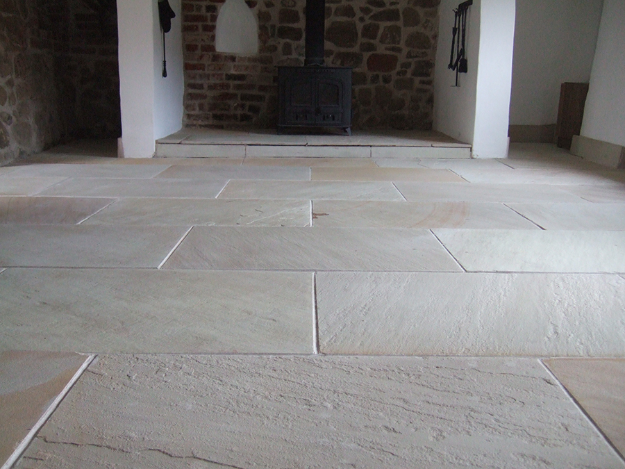 Flagstone floor in a barn with natural colours