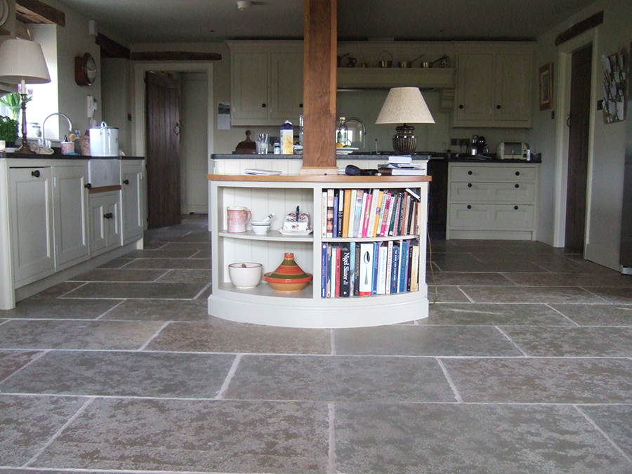 Newly laid flagstone floor refinished