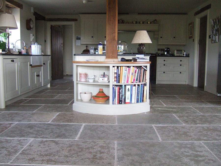 Newly laid flagstone floor refinished