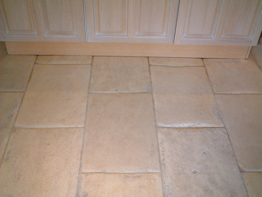 Limestone flagstone floor cleaned and sealed