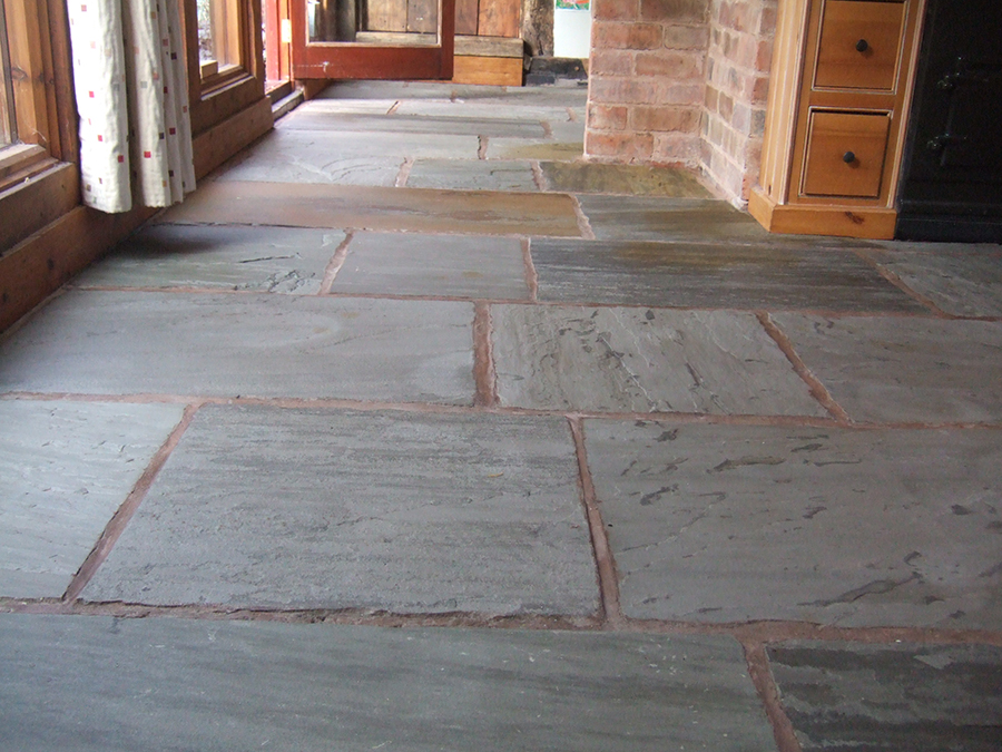 Paint removed from a flagstone floor