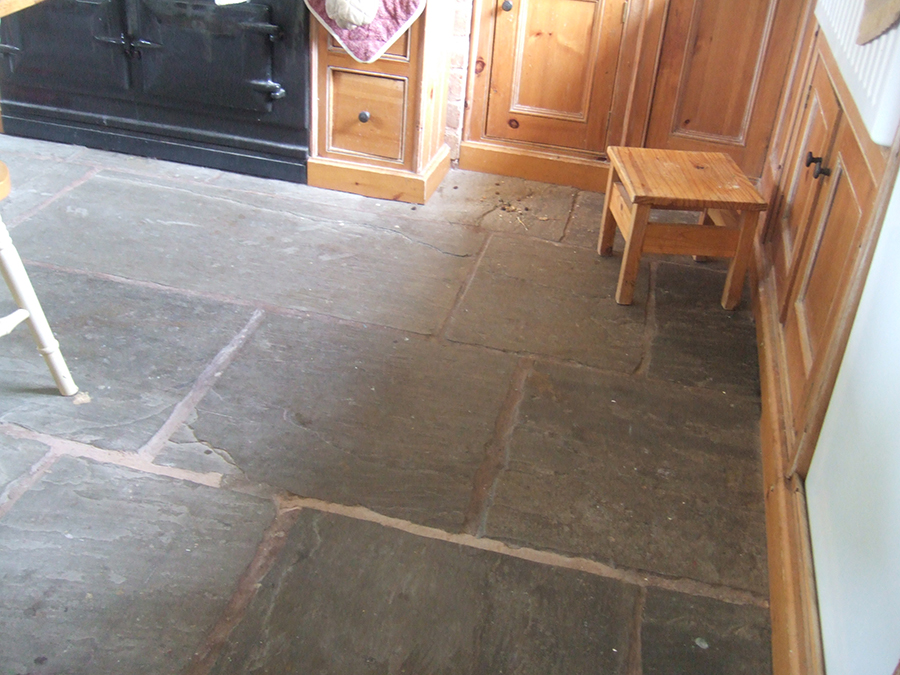 Stone floor with paint spills