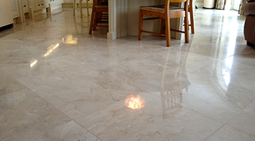 Marble floor tiles polished in a dining room.