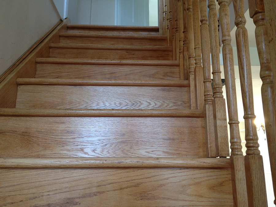 Oak staircase sanded and varnished