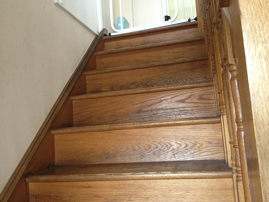 Oak staircase before sanding