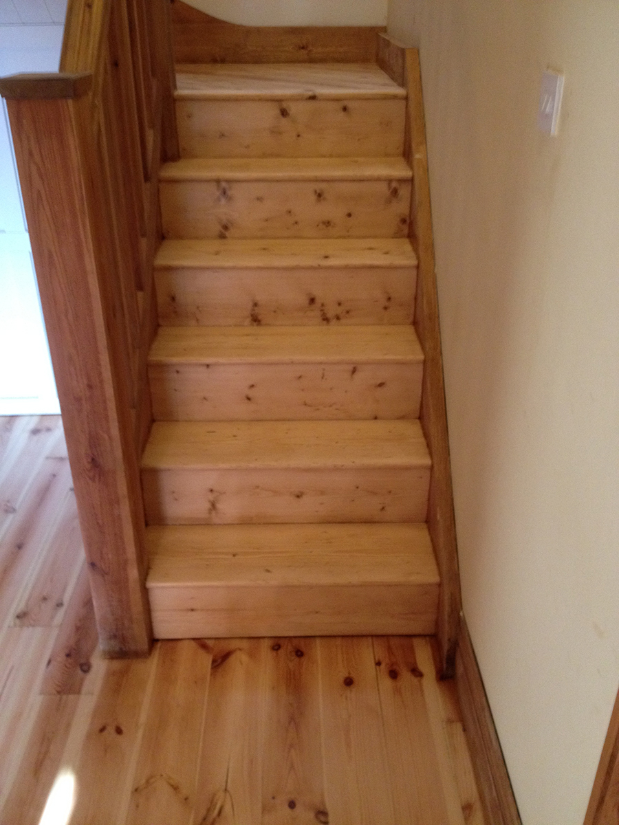 New pine staircase sanded and lacquered