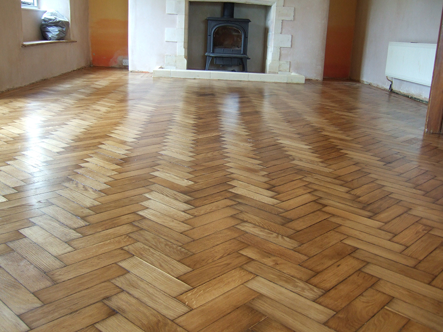Parquet Old Pine Floor Repaired And Stained