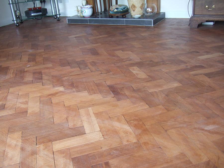 Teak parquet floor badly sanded