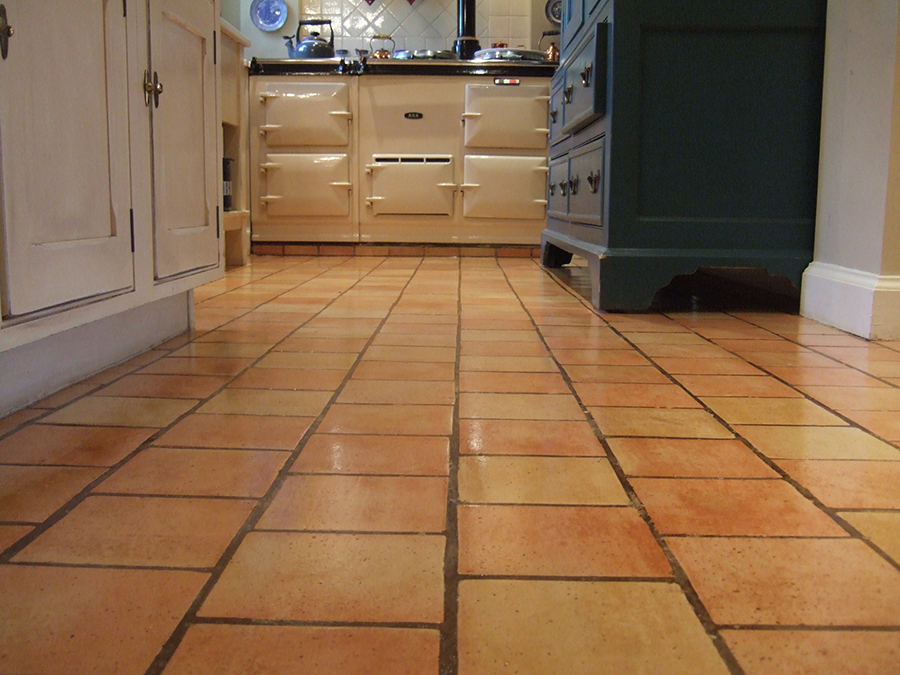 Terracotta tiles restored after damage caused by cleaning