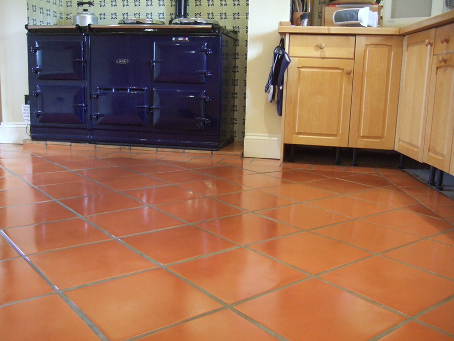 Long term terracotta seal applied to terracotta tiles