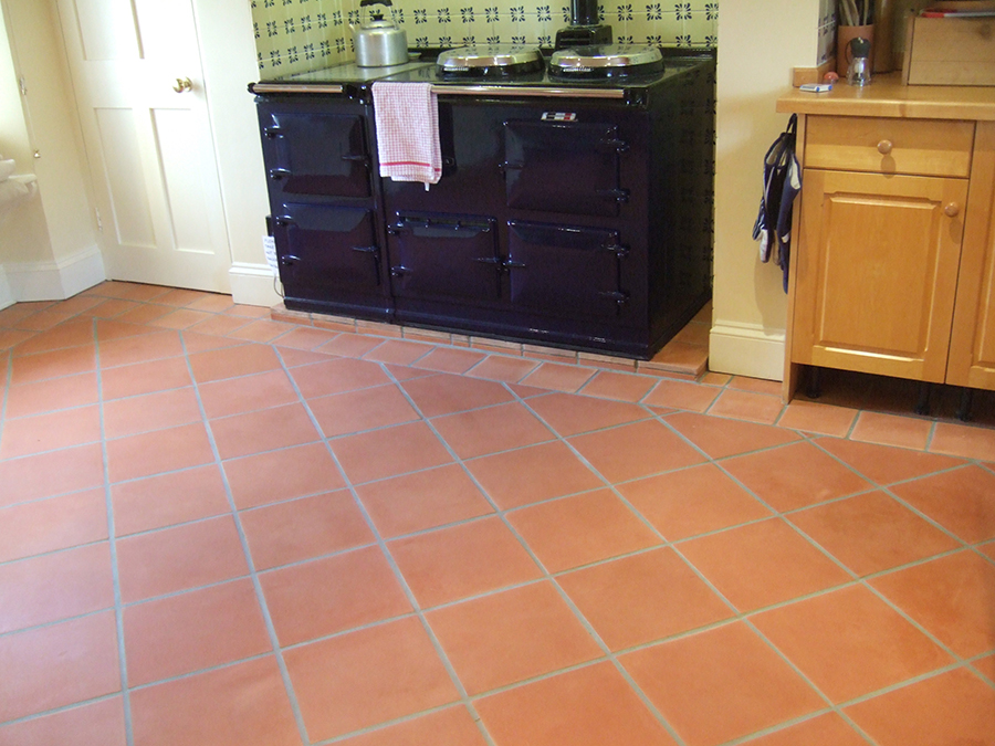 Unsealed terracotta floor tiles