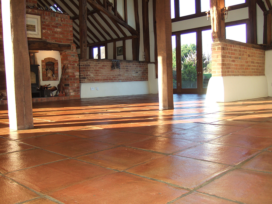 Fired earth terracotta tiles stain proofed and sealed