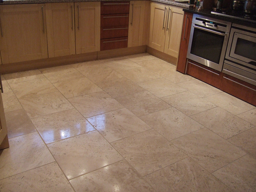 Travertine floor grouted