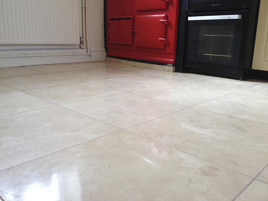 Travertine with acrylic seal removed