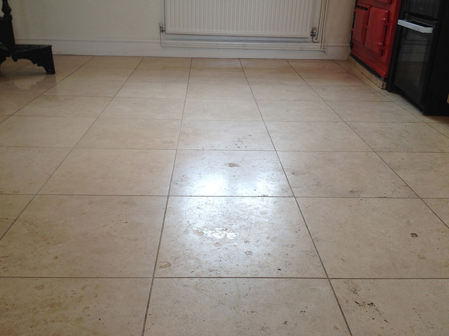 Travertine floor with acrylic seal