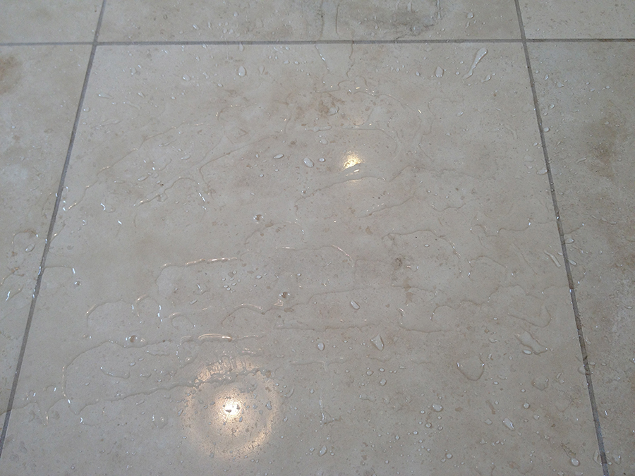 Travertine tiles sealed