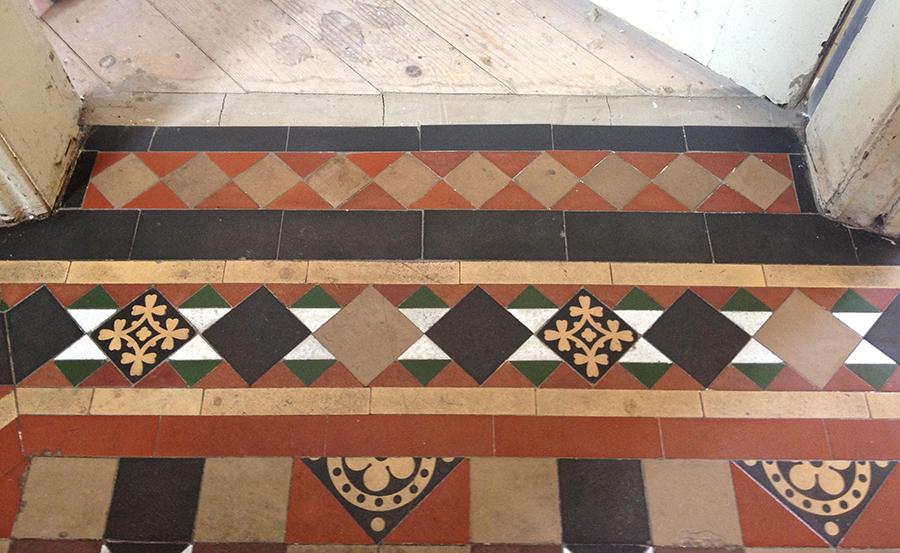 Victorian terracotta floor tiles