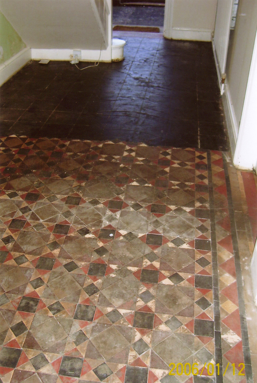 Victorian geometric tile restoration the floor restoration company old quarry tiles with bitumen doublecrazyfo Gallery