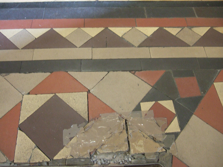 Damaged Victorian tiles