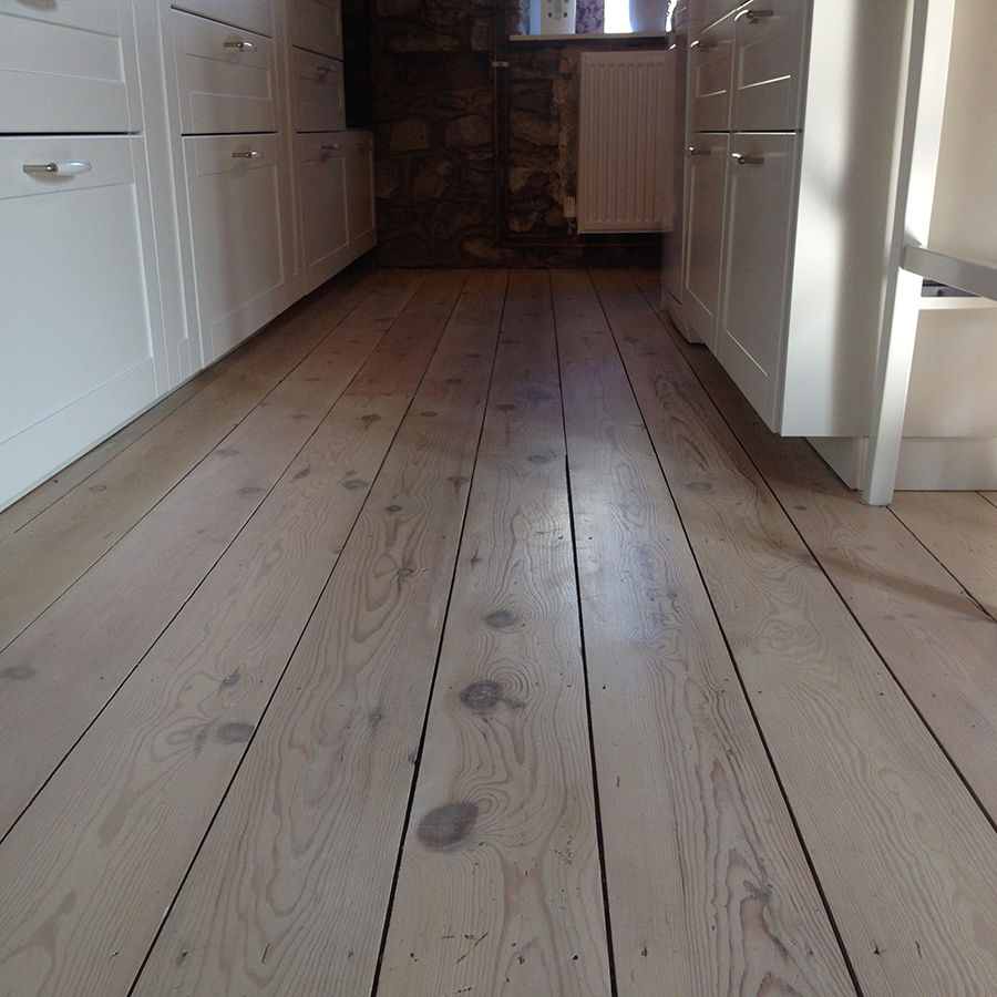 Old pine floor boards lime washed