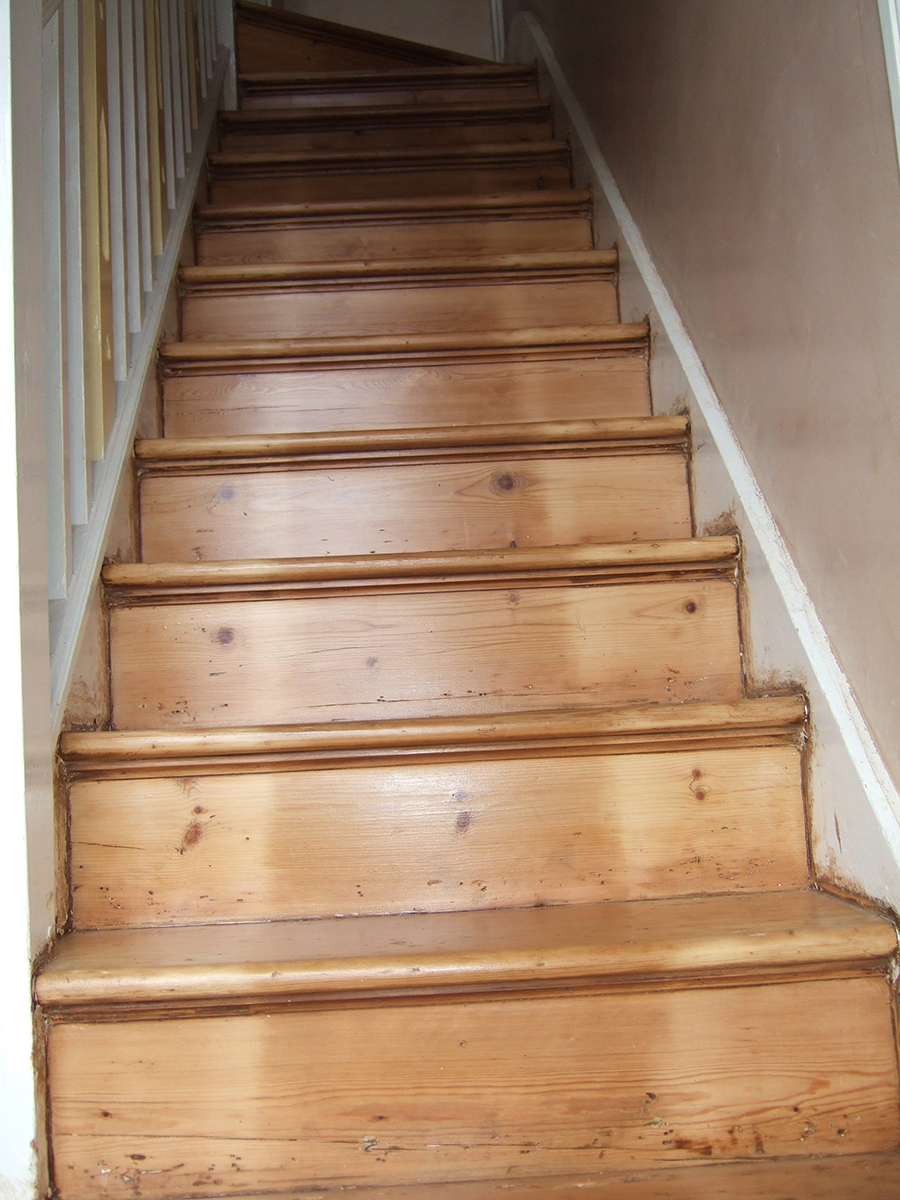 Victorian wood staircase sanded and lacquered