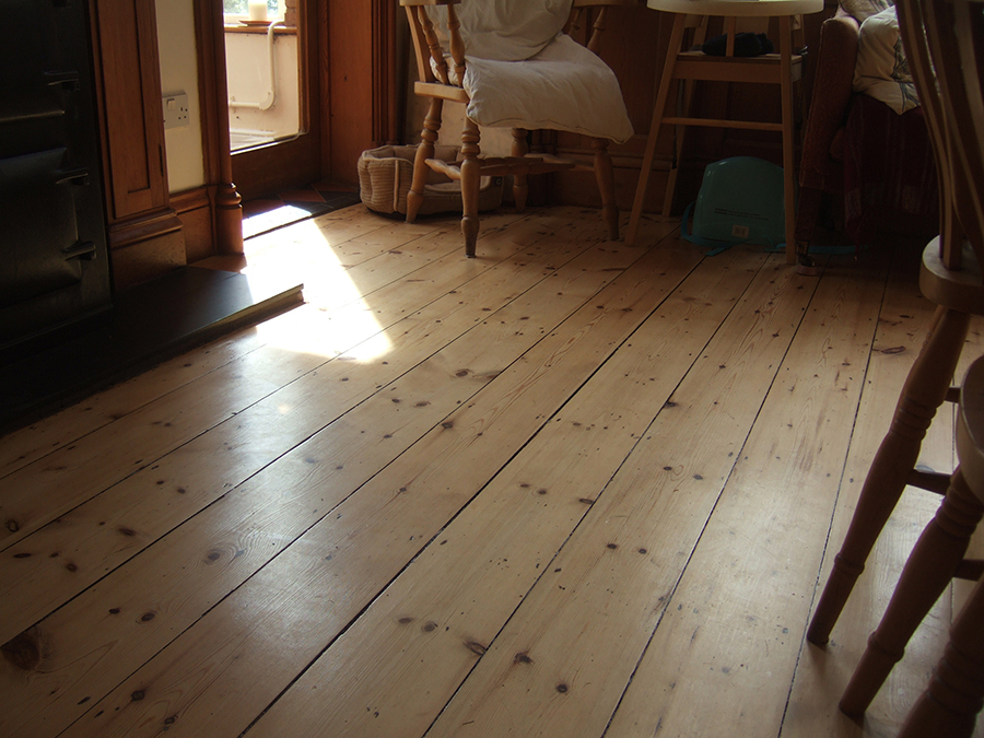 Varnished old floor boards