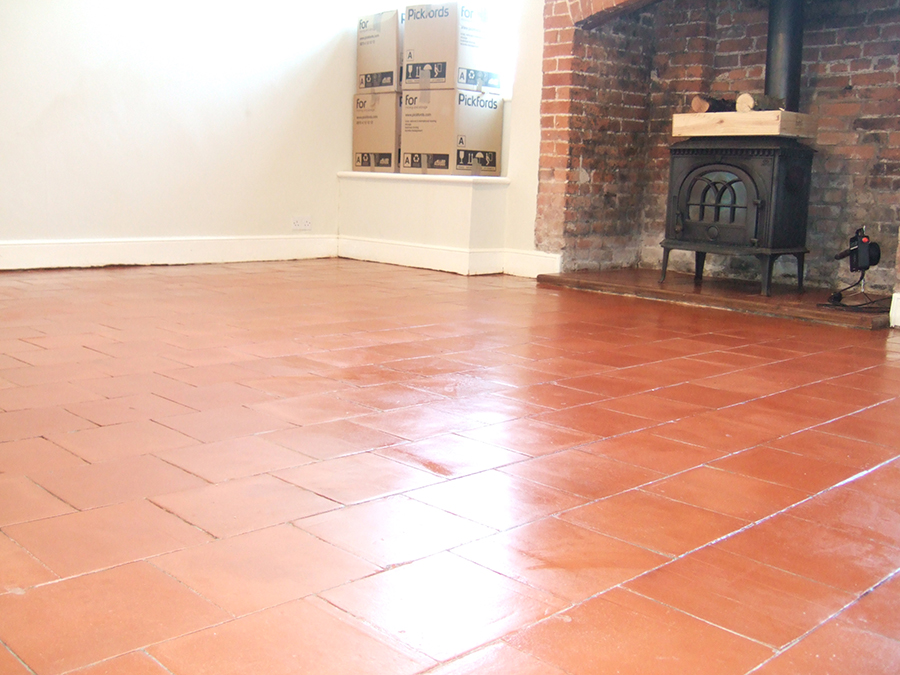 Victorian tiled floor cleaned and polished